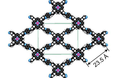 A covalent organic framework with cobalt atoms added (purple)