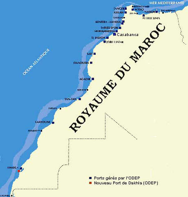 Map showing the location of the port city Jorf Lasfar in Morocco where the new $318m fertiliser production facility has been built.