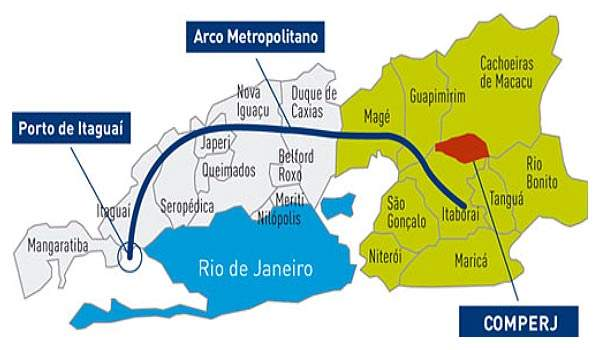 The Rio de Janeiro Petrochemical Complex (Comperj) is being built in the municipalities of Itaborai and Sao Goncalo. The proximity of the site to Petrobras' existing complex in Rio de Janeiro, the availability of labour and proximity to the port were factors in deciding on the location.