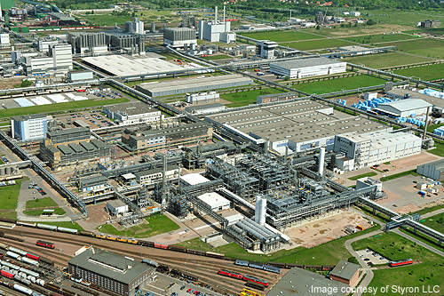 Aerial view of the Schkopau chemical complex site in Germany.