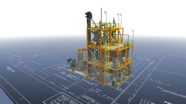 A rendering of the biorefinery demonstration unit being built in Kapolei, Oahu, Hawaii. Image courtesy of Honeywell UOP.