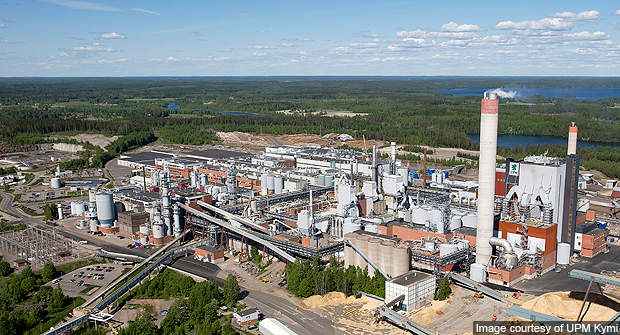 Aerial view of the Kymi pulp mill and paper factory.