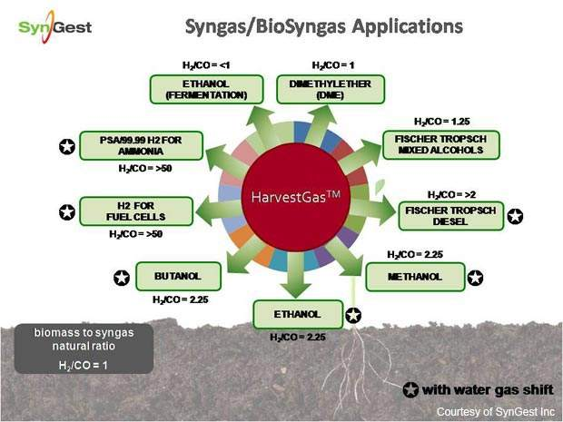 Syn gas from biomass is a starting point for a wide range of chemical feedstocks