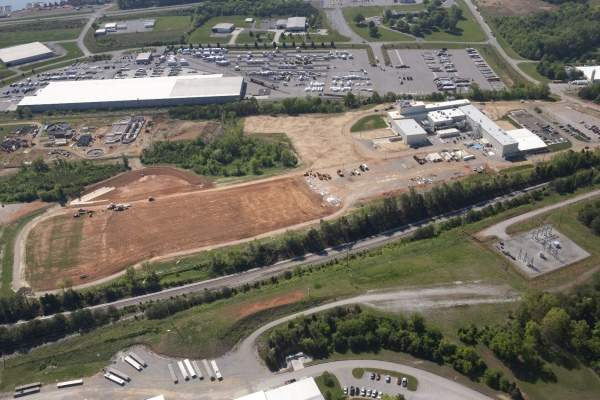 Aerial view of the Biomass Innovation Park site in Vonore, Tennessee, where DuPont operates its pilot-scale cellulosic ethanol biorefinery. Image courtesy of Genera Energy.