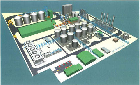 Diagrammatic view of the Ensus plant.
