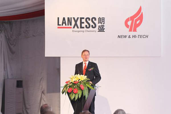 Lanxess CEO Axel C. Heitmann was present at the groundbreaking ceremony for the EPDM plant in Changzhou, China.