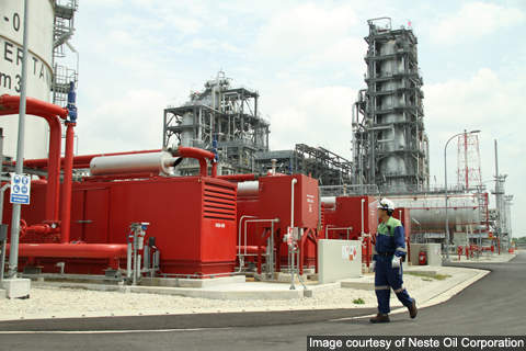 The biofuel plant is the largest of its kind in the world and uses renewable feedstock.