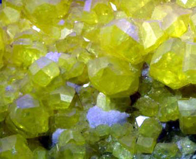 Sulphur in its raw crystalline state; the plant incorporates three sulphur recovery units.