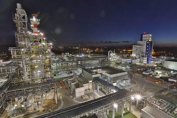 The new complex houses three production facilities for acrylic acid, butyl acrylate and superabsorbent polymers (SAP).