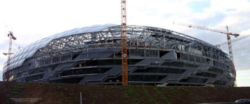 The structure of the Allianz stadium can be seen prior to the ETFE pillows being installed. Due to the properties of ETFE it is widely used in the construction industry.