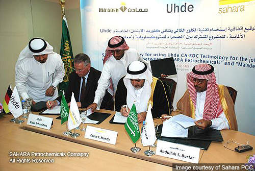 An official signing the Sahara - Ma'aden JV owners and Uhde for licensing process technologies to the CA-EDC complex.