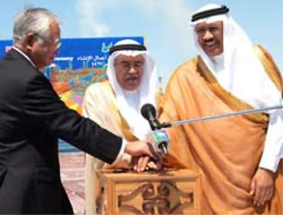 From left, Sumitomo Chemical president Hiromasa Yonekura, Saudi Minister of Petroleum and MineralResources Ali I. Al-Naimi and Saudi Aramco president and chief executive officer Abdallah S. Jum'ah officiate at the groundbreaking ceremony for the PetroRabigh project on March 19, 2006.