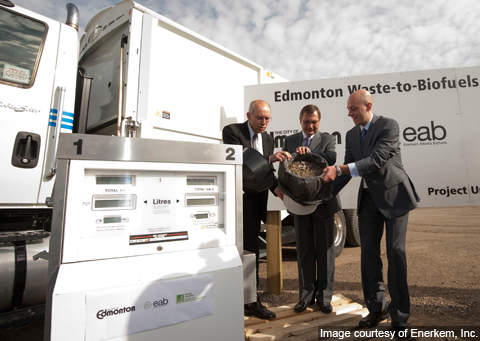 (Left to right) The mayor of Edmonton Stephen Mandel, premier of Alberta Ed Stelmach and Enerkem's president and CEO Vincent Chornet lead the plant's groundbreaking ceremony on 31 August 2010.