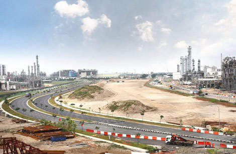 The site of ExxonMobil's new petrochemical plant on Jurong Island, Singapore.