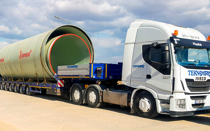 The GRP pipes for the cooling water line are being supplied by Superlit. Image courtesy of Superlit.