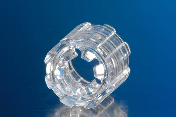 An adaptor used for medical applications made, of Apec. Image courtesy of Bayer MaterialScience.