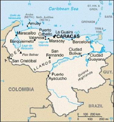 Map of Venezuela; the petrochemical complex is located on the Caribbean coast near Anzoategui.