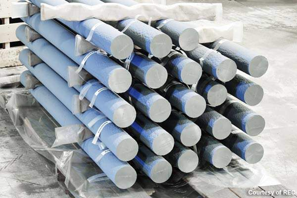 Silane gas is produced from silicon rods used in the reactors.