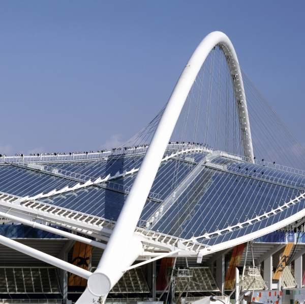 The Spyridon Louis stadium in Athens used a transparent roof made of Makrolon polycarbonate from Bayer MaterialScience. Image courtesy of Bayer MaterialScience AG.