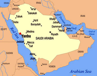 A map of Saudi Arabia showing the position of Yanbu, one of two main industrial cities, twinned with Jubail.