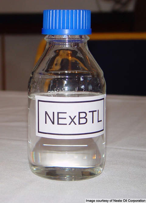A sample of the NExBTL biodiesel.
