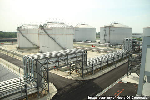 Piping and storage tanks at Neste Oil's biodiesel facility.