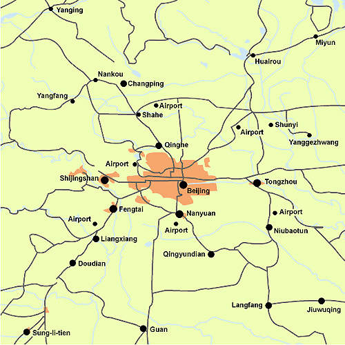 Map showing Beijing and surrounding areas in China. The new facility is close to major markets.