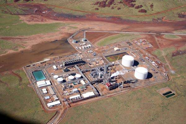 Aerial view of the Burrup Fertilisers ammonia plant established on the Burrup Peninsula.