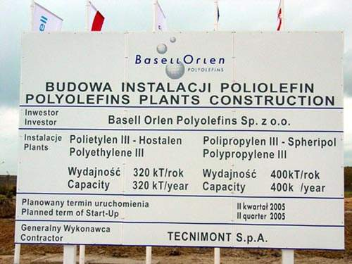 The Basell Orlen Polyolefins joint venture built what is said to be one of the largest polyethylene and polypropylene plants in the world. Basell provided technology for the plant built at PKN Orlen's site in Plock, Poland.