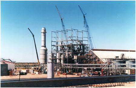 Production of di-ammonium and mono-ammonium phosphate at the Phosphate Hill granulation plant.