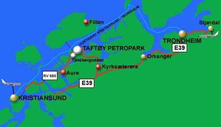 Map of the coast of Norway showing Tjeldbergodden.