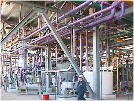 Piping on the ground level of the phosphoric acid filter building.