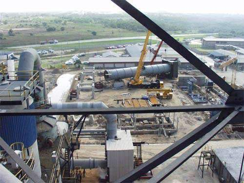 View over sulphuric acid plant site looking north-east showing the stack assembly.